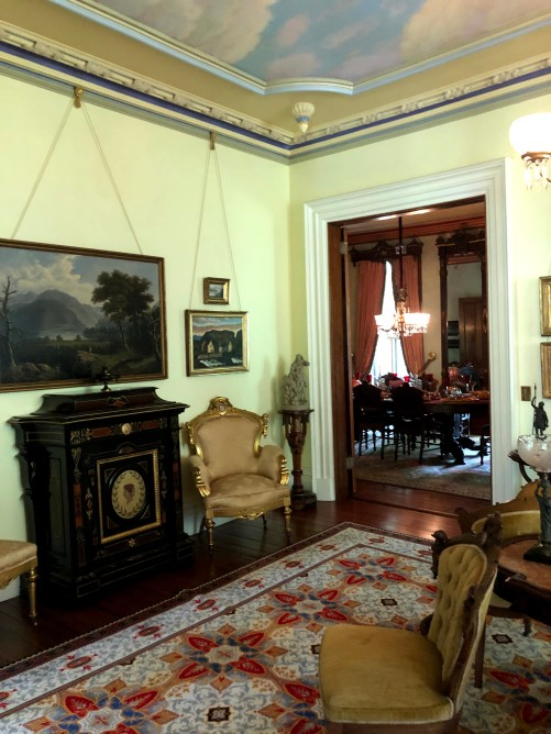 neoclassical furniture in the parlor of the Armour-Stiner Octagon House